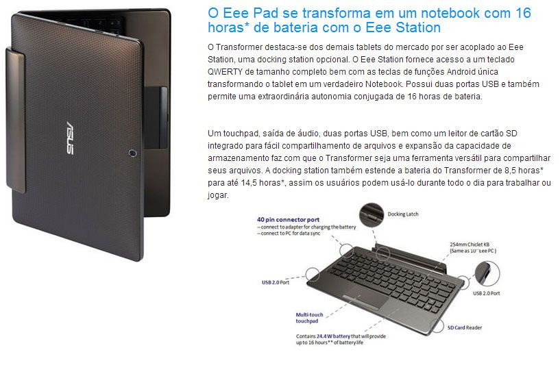 Tablet Asus Transformer TF101G com Teclado - Tela