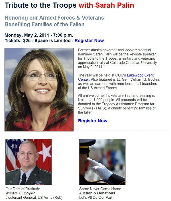palininco President 2012: Sarah Palin to Forego NBC Politico GOP Presidential Debate for Colorado Tribute to the Troops